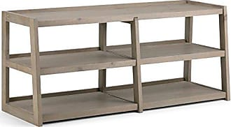 Simpli Home Simpli Home 3AXCSAW-04W-GR Sawhorse Solid Wood Wide TV Media Stand in Distressed Grey For TVs up to 65 inches
