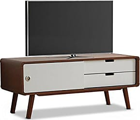Wholesale Interiors Baxton Studio Armani Mid-Century Modern Two-Tone Finish 2-Drawer with Sliding Door Wood TV Cabinet, Dark Walnut/White