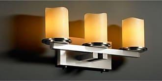 Justice Design Group CNDL-8773 - Dakota 3 Light Straight - Bar Bath Bar - Cylinder with Melted Rim - Amber Shade - CNDL-8773-14-AMBR-NCKL