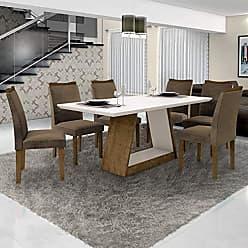 Leifer Conjunto Sala de Janta Mesa Tampo Branco 6 Cadeiras Pampulha Leifer Ype/Branco/Capuccino