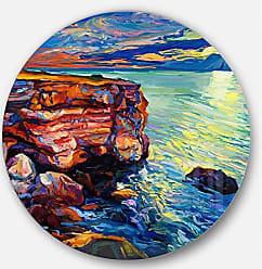 DESIGN ART Designart Beautiful Ocean and Cliffs Seascape Painting Metal Wall Art - Disc of 23 inch, 23 H x 23 W x 1 D 1P, Orange