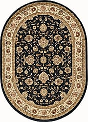 Tayse Raleigh Traditional Floral Black Oval Area Rug, 5 x 7 Oval