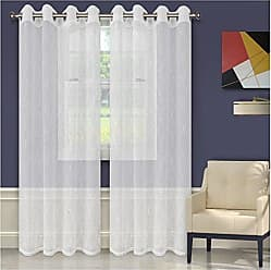 Home City Inc. Superior Quality Lightweight Embroidered Imperial Trellis Sheer Stainless Grommets Window Treatment Curtain Panel (Set of 2) 52 x 84 - White
