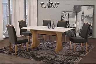 Siena Móveis Conjunto Sala de Jantar em Madeira Maciça Mesa Milão Curva e 6 Cadeiras Priscila Siena Móveis Imbuia Natural/Suede 68
