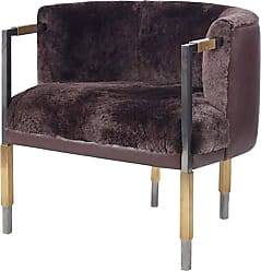 Kelly Wearstler Larchmont Chair In Mink Shearling And Beige Shearling
