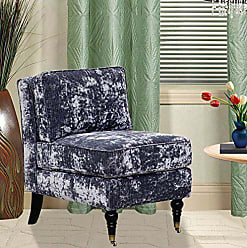 Iconic Home Gandhi Modern Blue Grey Velvet Armless Accent Chair with Solid Oak Castered Front Legs, Oversized