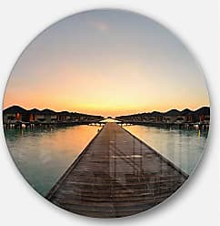 DESIGN ART Designart Long Pier into The Ocean Wooden Sea Bridge Large Metal Wall Art - Disc of 23, 23X23-Disc of 23 inch, Blue/White