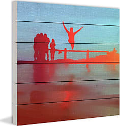 Marmont Hill Jumping off the Pier Painting Print on Wood Wall Art - ET-CLH-40-WW-24