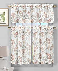 Duck River Textile Duck River Textile Rivietta Faux Linen Floral Kitchen 3 Piece Window Curtain Tier & Valance Set, 2 29 x 36 & One 58 x 15, Blush