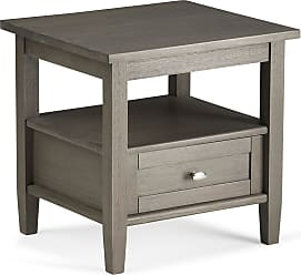 Simpli Home Warm Shaker Solid Wood End Table in Farmhouse Grey