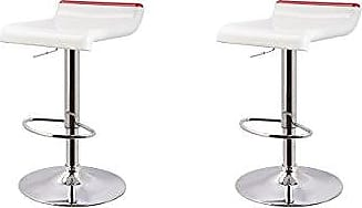 Round Hill Furniture Adjustable Height Swivel Barstools, White and Red, Set of 2