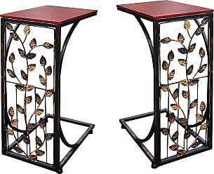 Overstock Set of 2 Sofa Side End Tables - Dark Brown Wood Top With Leaf Design Metal Frame - C-Shaped TV Trays For Couch, Recliner