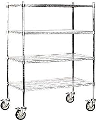 Salsbury Industries Mobile Wire Shelving Unit, 48-Inch Wide by 69-Inch High by 24-Inch Deep, Chrome