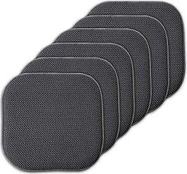 Sweet Home Collection Cushion Memory Foam Chair Pads Honeycomb Nonslip Back Seat Cover 16 x 16 6 Pack Charcoal Gray