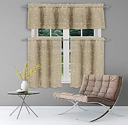 Duck River Textile Home Maison Mistie Embroidered Floral Window Curtain 2 Panel Drapes, 38 x 84, Taupe/Gold