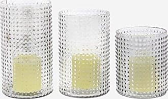 Deco 79 24691 Cylindrical Frosted Glass Candle Holders, 6 x 8 x 9, Obscure