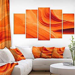 DESIGN ART Designart Upper Antelope Canyon-Landscape Photo Canvas Print-60x32 5 Piece, 60x32-5 Panels Diamond Shape, Orange