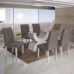 Leifer Conjunto Sala de Jantar Mesa Tampo Vidro 180cm 6 Cadeiras Olímpia New Leifer Branco/Linho Cinza