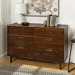 Walker Edison WE Furniture AZR6DSLDRWT Dresser, Walnut