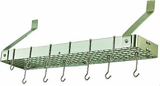 Old Dutch International Old Dutch Wall-Mount Bookshelf Pot Rack with Grid & 12 Hooks,Satin Nickel, 36.25 x 9 x 11.5