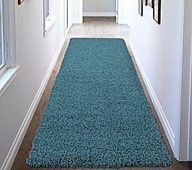 Ottomanson Soft Cozy Color Solid Shag Runner Rug Contemporary Hallway and Kitchen Shag Runner Rug, Turquoise Blue, 27L X 80W
