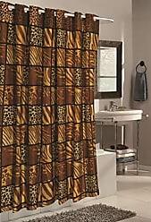 Ben&Jonah Ben & Jonah Ez On Fabric Built in Shower Curtain Hooks: Stall Size 54 Wide X 78 Long Pattern Name Wild Encounter Splash Collection by Ben&Jonah, Brown