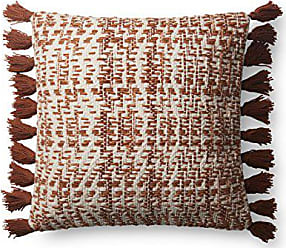 Loloi Rugs Loloi P0624 Pillow Cover Only/No Fill, 18 x 18, Orange/Natural