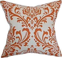 The Pillow Collection Olavarria Damask Bedding Sham Orange Natural, European/26 x 26
