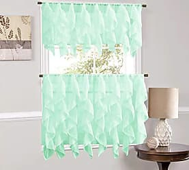 Sweet Home Collection Veritcal Kitchen Curtain Sheer Cascading Ruffle Waterfall Window Treatment - Choice of Valance, 24 or 36 Teir, and Kit, Mint