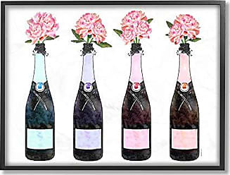 Stupell Industries The Stupell Home Décor Collection Black Pink Purple and Blue Champagne Bottles with Peonies Framed Giclee Texturized Art, 16 x 20, Multi-Color