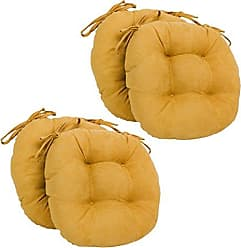 Blazing Needles Solid Microsuede Round Tufted Chair Cushions (Set of 4), 16, Lemon