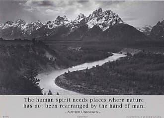 Buyartforless Buyartforless Teton and Snake River Black and White Photograph by Ansel Adams with Quote 5x7 Card Art Print Poster