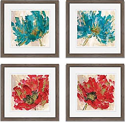 WEXFORD HOME Red Infusion Spring Collection Flower Print 4 Panels Set Framed Décor for Home Office Wall Art, 15X15, Burly Wood