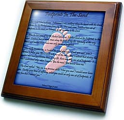 3D Rose ft_63085_1 Footprints in The Sand with Childs Feet Framed Tile, 8 by 8-Inch