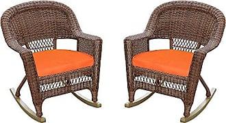 Jeco W00205R-C_2-FS016 Rocker Wicker Chair with Orange Cushion, Set of 2, Honey