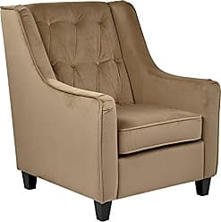 Office Star AVE SIX Curves Tufted Back Armchair with Espresso Finish Solid Wood Legs, Coffee Velvet Fabric