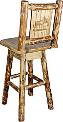 Montana Woodworks Glacier Country Collection Counter Height Barstool with Back & Swivel, Laser Engraved Moose Design
