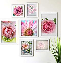 Los Quadros Kit de Quadros Decorativos 7 Peças Rosas Los Quadros Branco