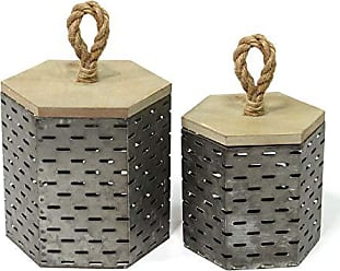 Stratton Home Decor Stratton Home Decor Set of 2 Metal Decorative Containers