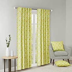 Madison Park Green Curtains For Living Room, Modern Contemporary Fabric Curtains For Bedroom, Delray Diamond Print Rod Pocket Window Curtains, 42x63, 1-Panel Pack