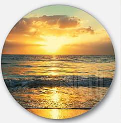 DESIGN ART Designart Exotic Water and Sky Sunset Panorama Modern Seashore Round Metal Wall Art Disc of 38 inch 38x38-Disc