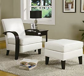 Round Hill Furniture Wonda Bonded Leather Accent Arm Chair with Ottoman, White