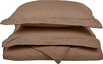 Superior Super Soft Light Weight, 100% Brushed Microfiber, Full/Queen, Wrinkle Resistant, Taupe Duvet Cover Set with Cloud Embroidered Pillowshams in Gift Box