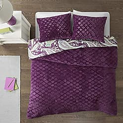 INTELLIGENT DESIGN Melissa King Size Bed Comforter Set - Purple, Green, Cold Weather Reversible Paisley, Geometric Diamond - 3 Pieces Bedding Sets - Ultra Soft Microfiber, Faux Fur Bedroom Comforters