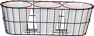 Foreside Home And Garden Foreside Home & Garden FPAU05063 Enamel Pots in Wire Basket, White/Black/Red