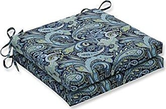 Pillow Perfect Outdoor/Indoor Pretty Paisley Navy Squared Corners Seat Cushion 20x20x3 (Set of 2)