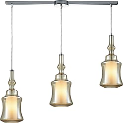 Elk Lighting Alora 3 Light Linear Bar Pendant In Polished Chrome With Opal White Glass Inside Champagne Plated Glass