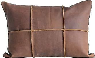 Creative Co-op Brown Leather Pillow with Black & White Striped Felt Back