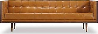 Kardiel Woodrow Midcentury Modern Box Sofa, Tan Aniline Leather/Walnut