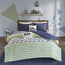 Urban Habitat Finn Full/Queen Duvet Cover Set Kids Boy - Green, Navy, Shark Stripe - 5 Piece Bed Set Cover - 100% Cotton Kid Boys Bedding Set